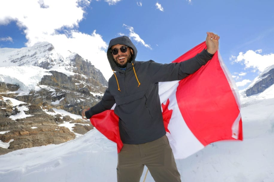 Athabasca Glacier - Columbia Ice Fields - Canadian Flag